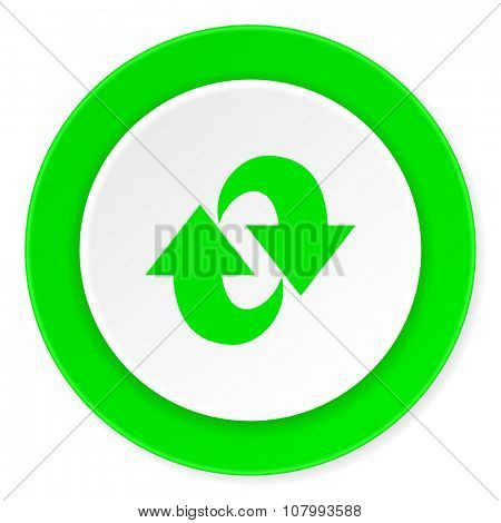 rotation green fresh circle 3d modern flat design icon on white background