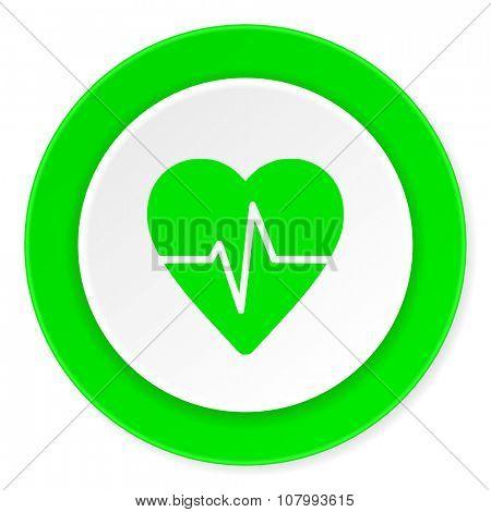 pulse green fresh circle 3d modern flat design icon on white background