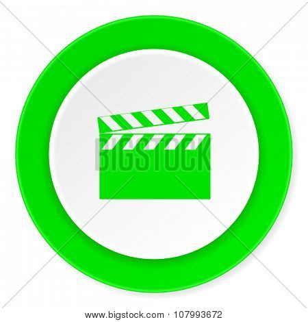 video green fresh circle 3d modern flat design icon on white background