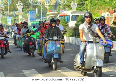 Nha Trang, Vietnam - July 12, 2015: A vespa scooter parade by the youth on the street of Nha Trang c