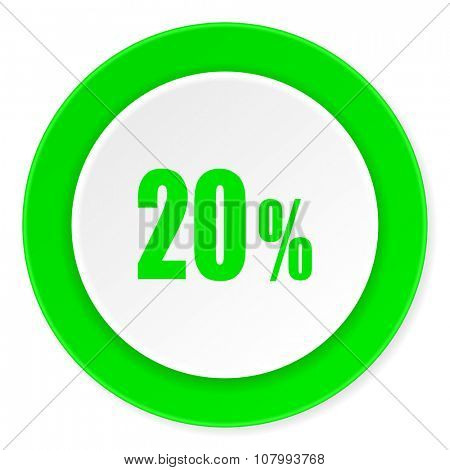 20 percent green fresh circle 3d modern flat design icon on white background