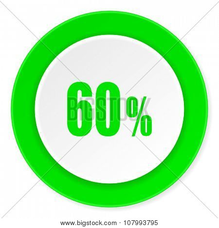 60 percent green fresh circle 3d modern flat design icon on white background