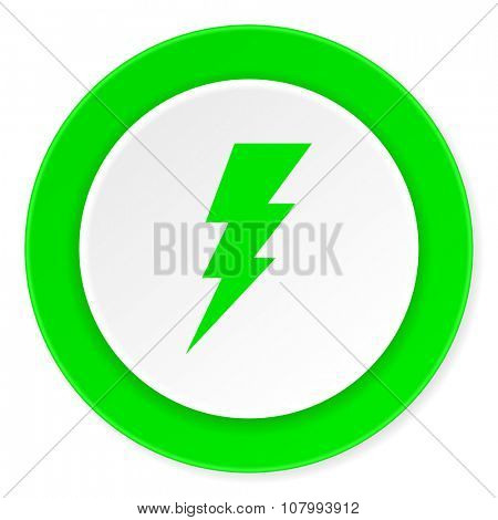 bolt green fresh circle 3d modern flat design icon on white background