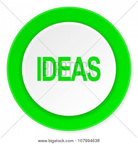 ideas green fresh circle 3d modern flat design icon on white background