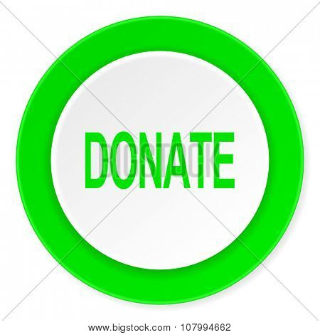 donate green fresh circle 3d modern flat design icon on white background