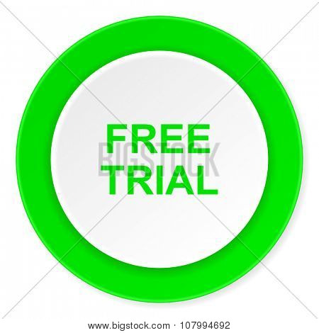 free trial green fresh circle 3d modern flat design icon on white background