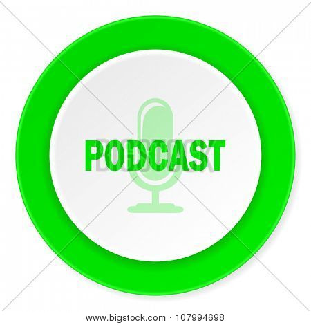 podcast green fresh circle 3d modern flat design icon on white background