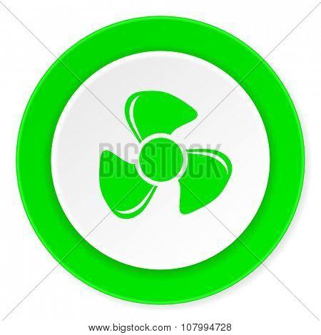 fan green fresh circle 3d modern flat design icon on white background