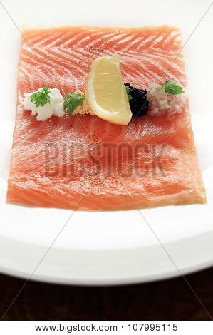 smoked salmon plated appetizer