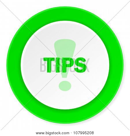 tips green fresh circle 3d modern flat design icon on white background