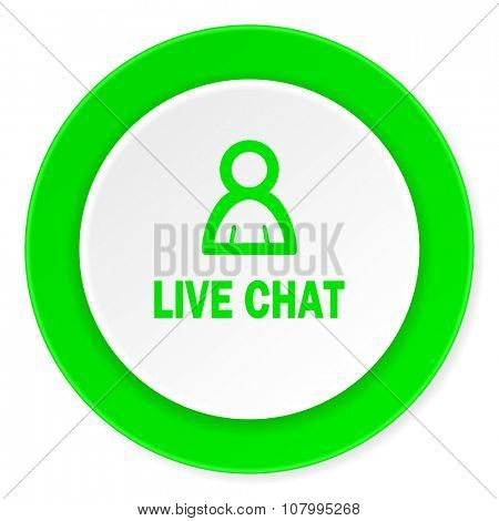 live chat green fresh circle 3d modern flat design icon on white background