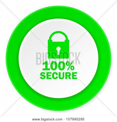 secure green fresh circle 3d modern flat design icon on white background