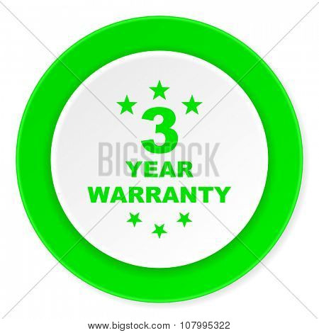 warranty guarantee 3 year green fresh circle 3d modern flat design icon on white background