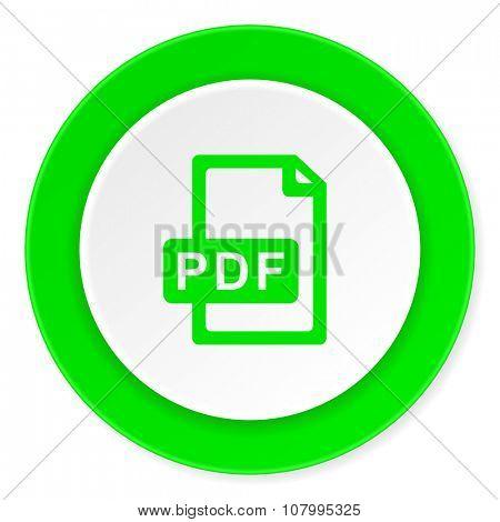 pdf file green fresh circle 3d modern flat design icon on white background