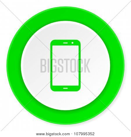 smartphone green fresh circle 3d modern flat design icon on white background