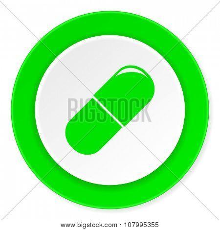 drugs green fresh circle 3d modern flat design icon on white background
