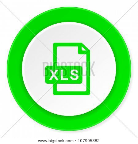 xls file green fresh circle 3d modern flat design icon on white background