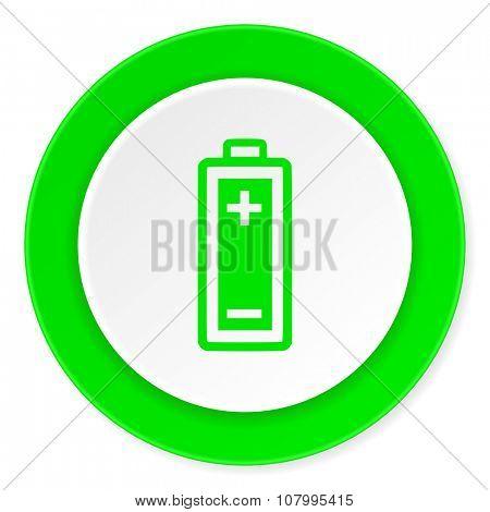battery green fresh circle 3d modern flat design icon on white background
