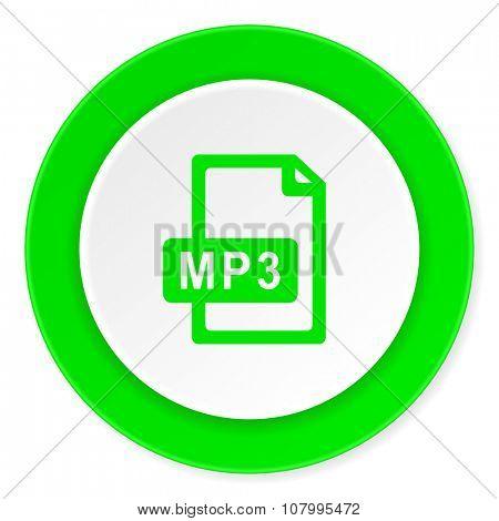 mp3 file green fresh circle 3d modern flat design icon on white background