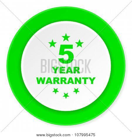 warranty guarantee 5 year green fresh circle 3d modern flat design icon on white background