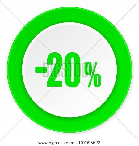 20 percent sale retail green fresh circle 3d modern flat design icon on white background