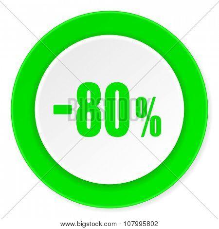 80 percent sale retail green fresh circle 3d modern flat design icon on white background