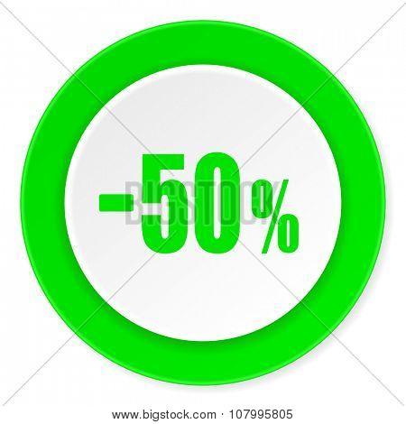 50 percent sale retail green fresh circle 3d modern flat design icon on white background