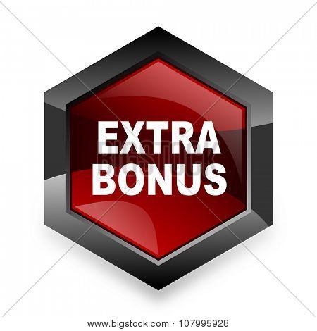 extra bonus red hexagon 3d modern design icon on white background