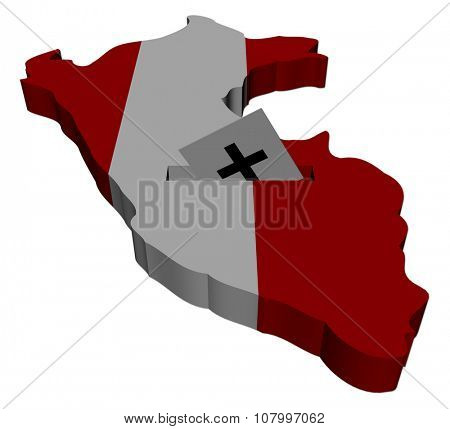 Peru election map with ballot paper illustration