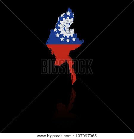Myanmar map flag with reflection illustration