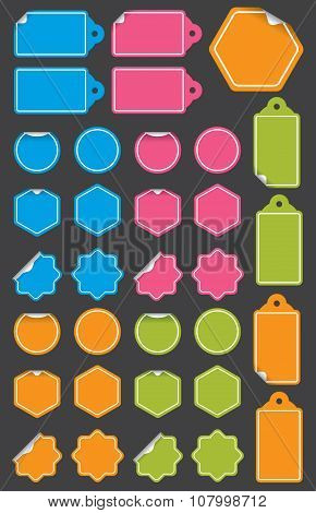 Set of vector labels with peeled back corner.