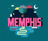 Memphis, Tennessee great destination to visit, vector cartoon poster
