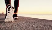 Runner Man Feet Running On Road Closeup On Shoe. Male Fitness Athlete Jogger Workout In Wellness Con poster