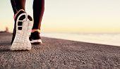 Постер, плакат: Runner Man Feet Running On Road Closeup On Shoe Male Fitness Athlete Jogger Workout In Wellness Con
