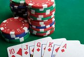 picture of playing card  - playing cards and gambling chips close up - JPG