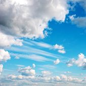 Blue sky with fluffy clouds poster