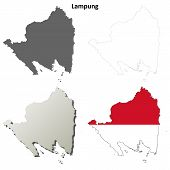 Lampung blank outline map set poster