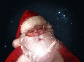 picture of santa claus hat  - Santa holding magical Christmas lights in hands - JPG