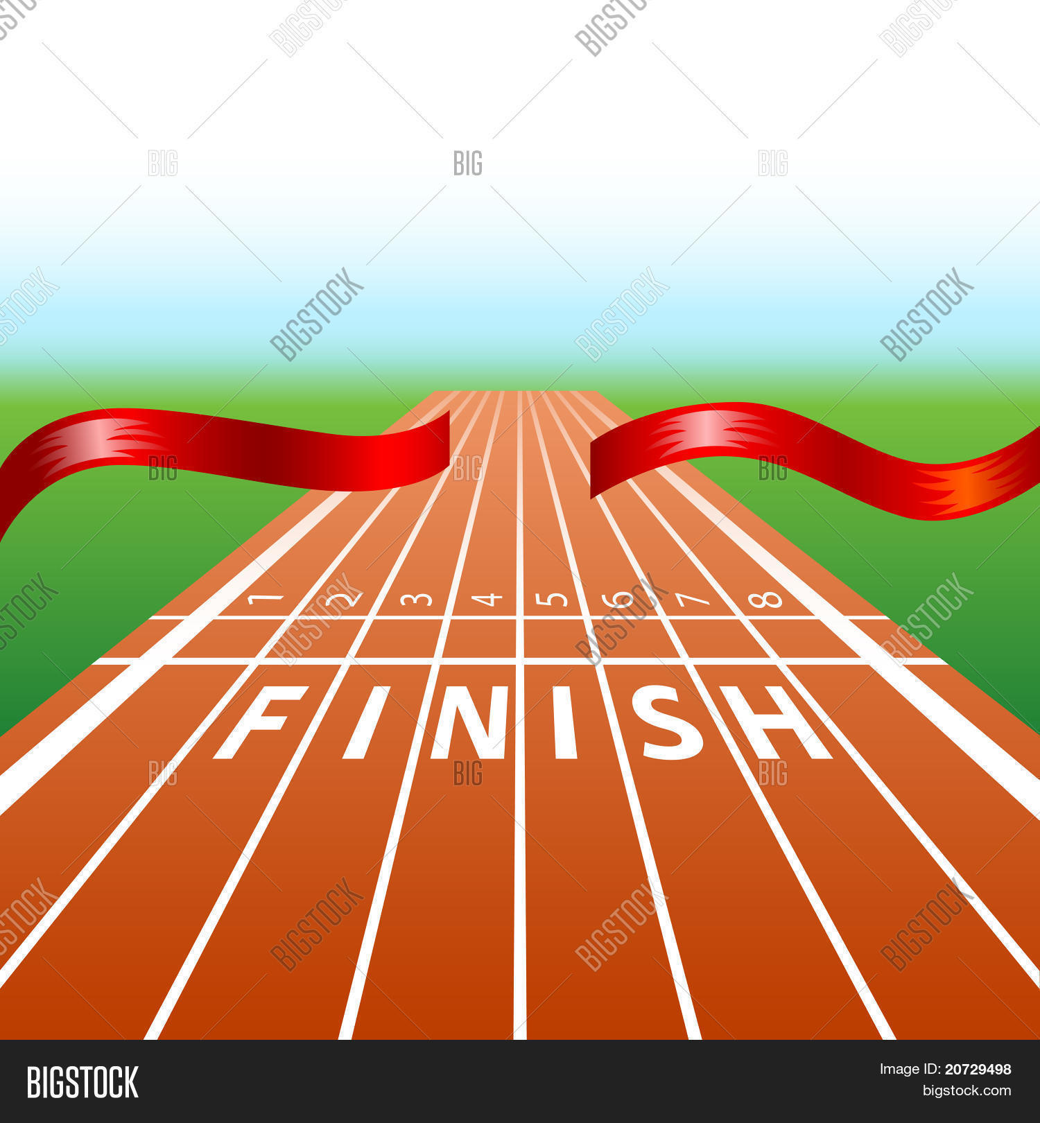 In Line Finishing : Ribbon in finishing line with racing track stock vector