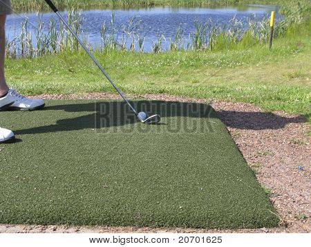 Golfer Addressing Ball