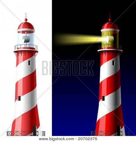 Lighthouse on white and dark. Vector.