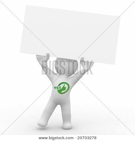 Cute Person With Blank Card