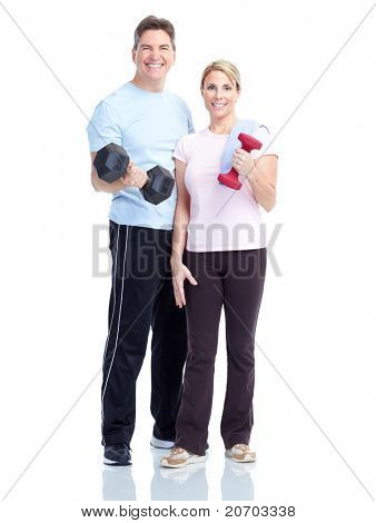 Young healthy fitness couple. Over white background