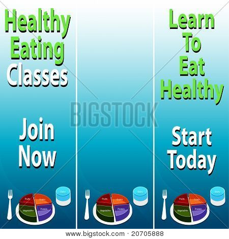 An image of healthy eating banners with food plate chart.