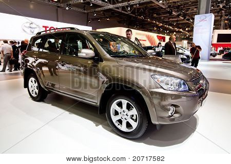Moscow, Russia - August 25:  Brown Jeep Car Tayota Rav 4 At Moscow International Exhibition Interaut