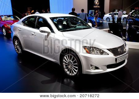 Moscow, Russia - August 25: White  Car Lexus Is 250 F-sport At Moscow International Exhibition Inter