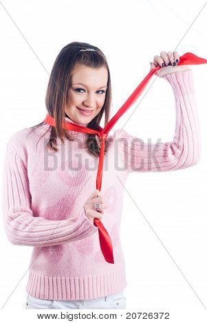 Woman with red tape