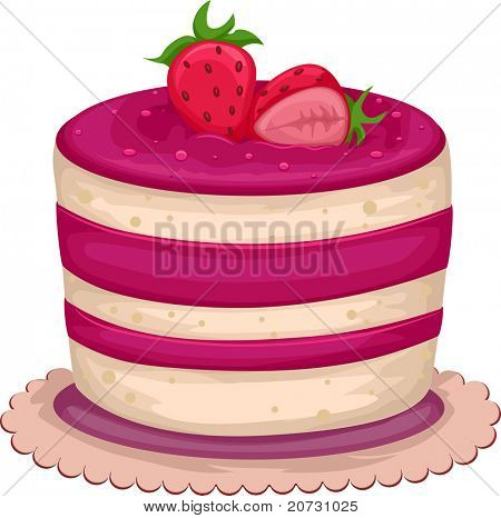 Illustration of an Enticing Strawberry Cake