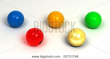 colored balls group on white