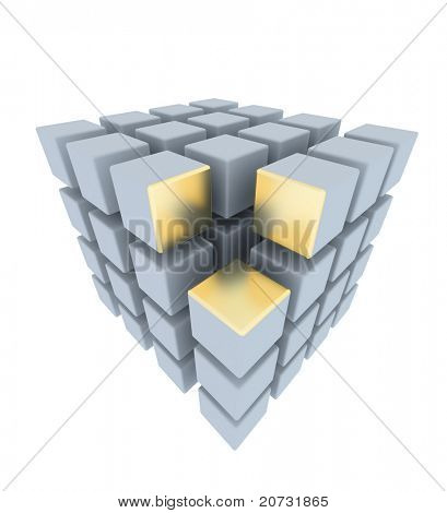 abstract boxes array with gold place